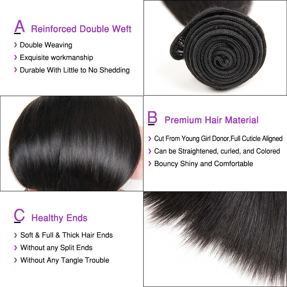 Ali graça peruano cabelo humano 3 pacotes com 4*4 fechamento do laço 100% remy cabelo reto tecer peruano cabelo reto com fechamento