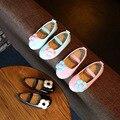 Sapatos de bebê 2016 outono nova meninas PU sapatos princesa sapatos de couro Preto Azul Rosa crianças fundo macio sapatos de dança 21-30