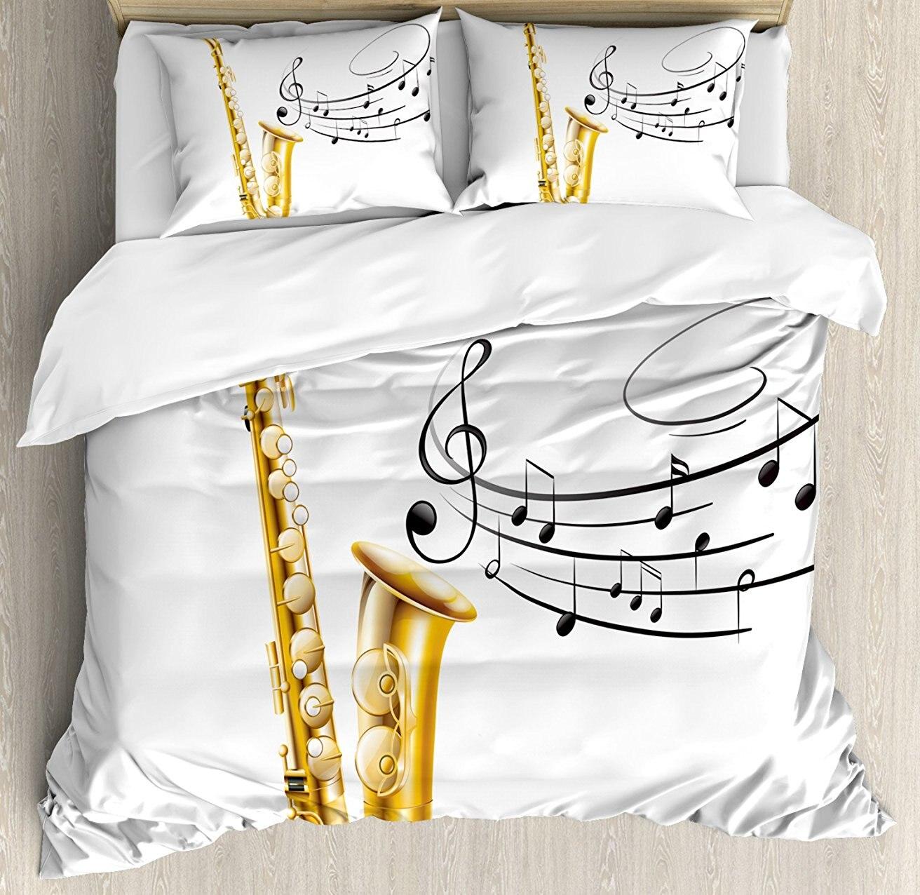 Musique Housse de couette, Illustration de Fantaisie Vieux Saxophone avec Modèle Solo Vibes Art Print Design, 4 Pièce Ensemble de Literie