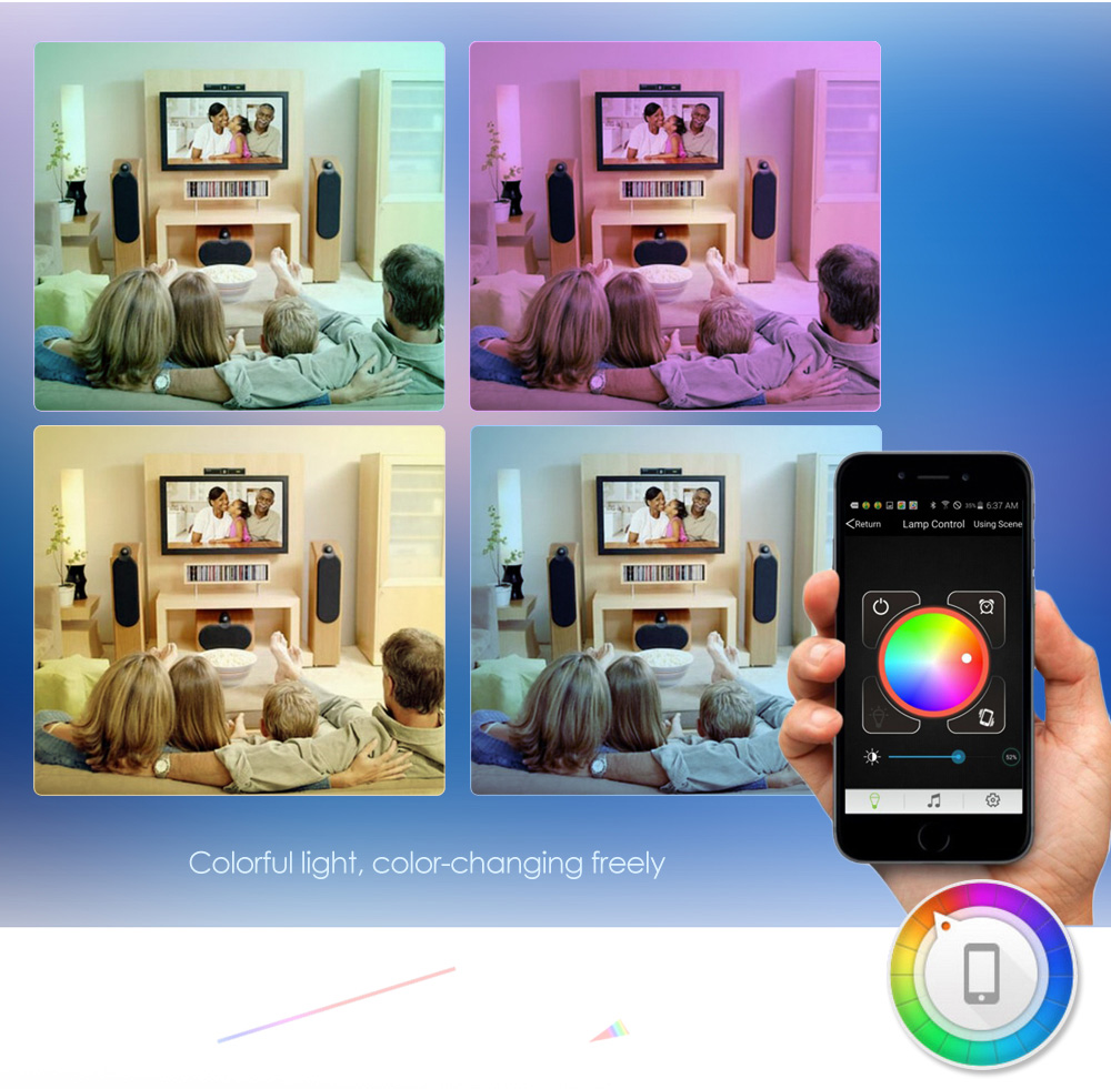 1pcs Bluetooth 4.0 Smart LED Bulb Light Lamp RGB E27 6W Colorful Dimmable Lights Bulb With Remote Control