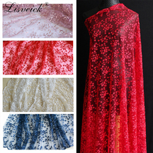new 1yard folwer Embroidered Lace Fabric Polyester Mesh tulle diy Dress skirt clothing Material widows gauze