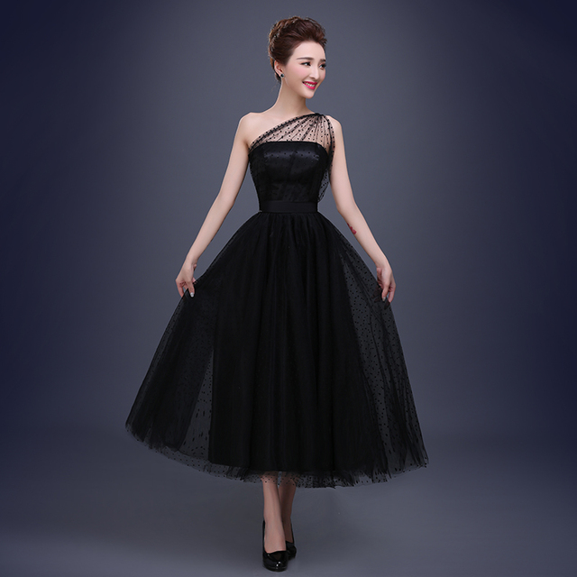 Tea Length One Shoulder Black Tulle Formal Party Dresses Sexy Long Evening  Gowns 2016 Free Shipping 6330ae52d7eb