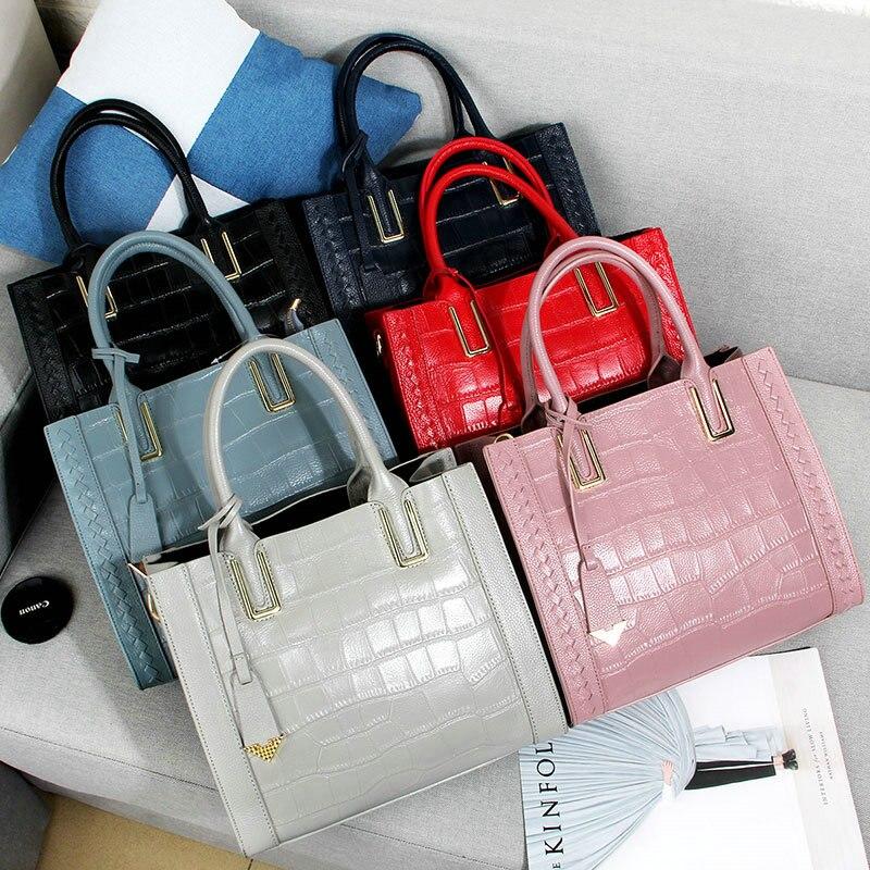 купить QIAOBAO Women Handbag 100% Genuine Leather Tote Shoulder Bag Stone Grain Ladies Purse Casual Shopping Bag Satchel Capacity Totes недорого