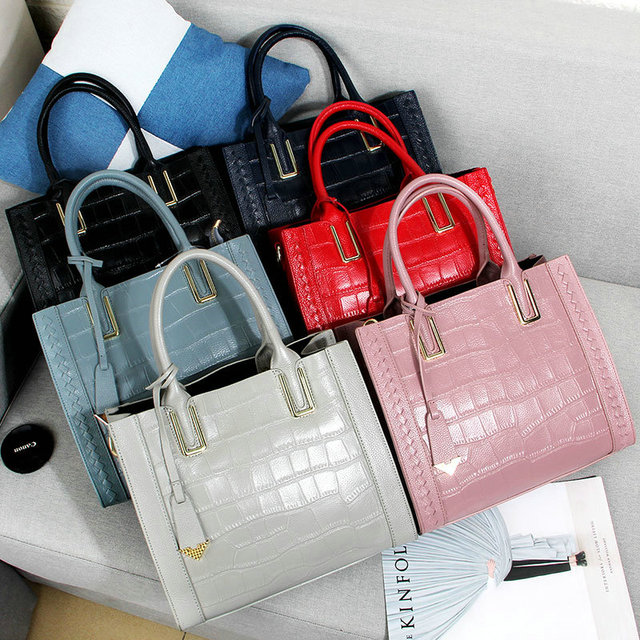 0828d25b2 QIAOBAO Women Handbag 100% Genuine Leather Tote Shoulder Bag Stone Grain  Ladies Purse Casual Shopping Bag Satchel Capacity Totes