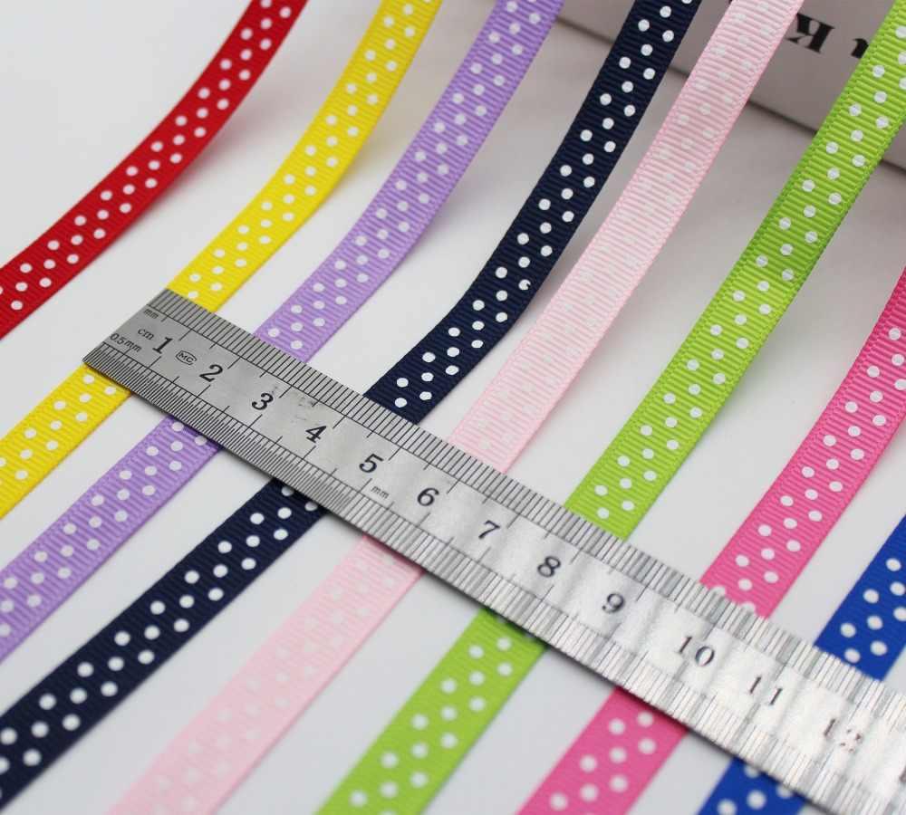 Più grande Collezione 3/8 di pollice (9 MM/10mm/1 cm) 30 colori Polka Dots Stampato Nastri Del Grosgrain Eco-Friendly Per Il FAI DA TE Ragazze Hairbows