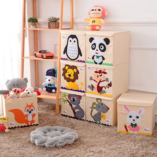 Hot Childrens Fabric Toy Storage Bins Foldable Oxford Cloth Cube Box For Kids 13 Inch Room