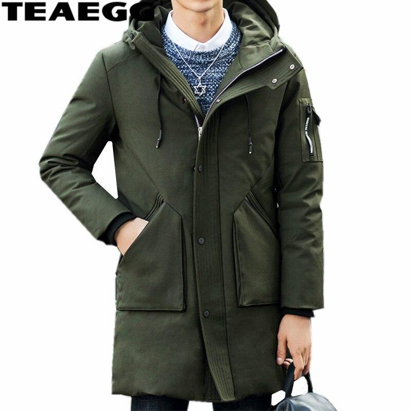 TEAEGG Warm Army Green Winter Jacket Men Duck Down Jacket Hooded White Duck Down Parkas Winter Jackets Men Coat Plus Size AL406