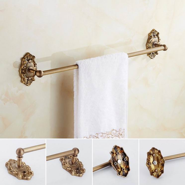 Free Shipping Antique Brass Towel Rack Single Bar European Carved Copper Brushed Towel Holder Wall Mounted Bathroom Hardware Set sanjeev kumar kiran pathania and pawan kumar sharma breeding of rice oryza sativa l