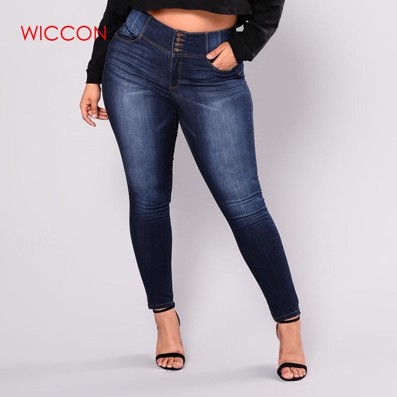 New Fashion Stretch Dark Blue   Jeans   Women Plus Size 4XL 5XL Causal Trousers Female Denim Pants Zipper Fly Pencil Pants Mom   Jeans