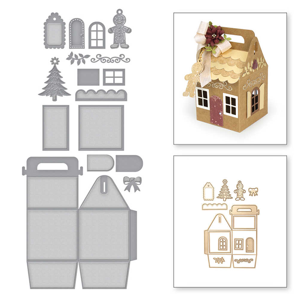 Christmas House Shaped Gift Bag Craft Dies Metal Cutting Die for Scrapbooking Embossing  DIY Christmas Ornaments Decorative Mold