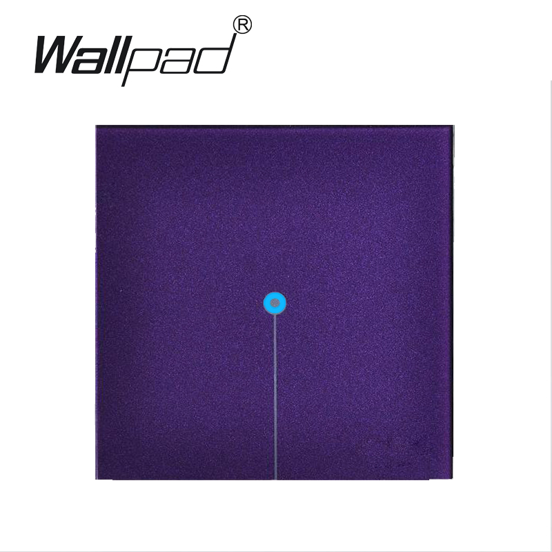 Waterproof LED Wallpad 1 gang 2 way Crystal Glass touch wall switches 110V~220V, Purple Light wall switch touch,Free Shipping