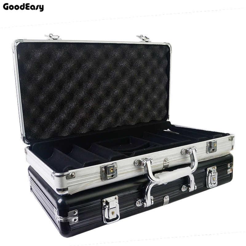 Hot Größe von 100-500 Casino Texas Poker Chips Kapazität Koffer Schwarz Jack Container Fall/Box Aluminium Koffer