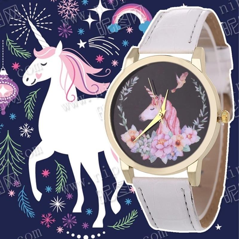 2018 Hot Watch Fashion Cute Unicorn Cartoon Girl Boy Child Quartz Watch Waterproof SportS Leather Watch Women Baby Watch Gift