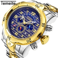 mens watch TEMEITE brand quartz stainless steel man wristwatch waterproof luxury Large dial Multifunction male watches T026G 6