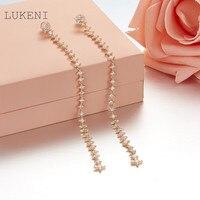 LUKENI New Design Personality Fashion Women S925 Sterling Silver Inlay Zircon The Stars Long Earrings Jewelry