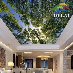 T-0126 árboles bunkle con hojas de impresión de techo película cielo azul con material de construcción de plástico de árbol