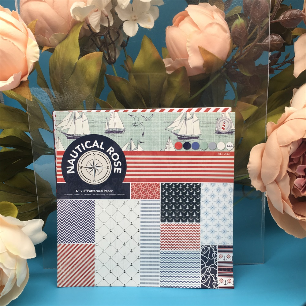 24pcs/Pack 6*6inch Navy Anchor Rose Sail Patterned Paper Pack Scrapbooking DIY Planner Card Making Journal Project Letter Pad
