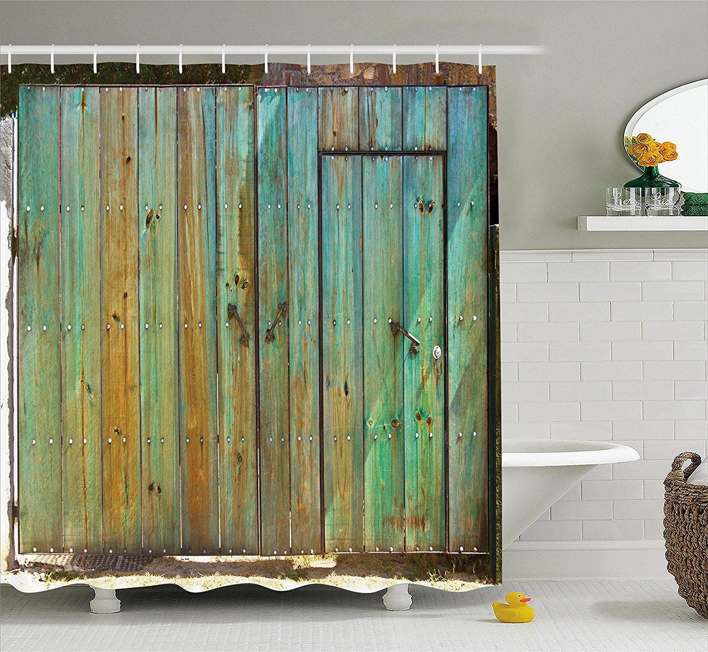 Vintage Duschvorhang Rustikalen Alten Holz Tor Datiert Toskana Haus Eingang  Mit Antiken Textur Foto Badezimmer Dekor Set