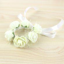 Red Pink Blue Purple Orange Green Wrist Flower Wedding Bride Corsage Hand  Decorative Wristband Bracelet Bridesmaid 89f1df559909