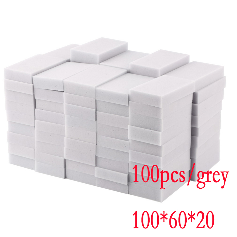 100 pcs Gray Kitchen Car household cleaning Magic Sponge Eraser Melamine Cleaner,multi-functional Cleaning 100x60x20mm Wholesale