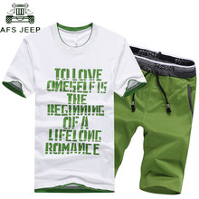 New 2018 Mens Fitness Tracksuit Set Summer Casual Sporting Suit Men Shorts Sets Short Sleeve Letter TShirt +Shorts Plus Size 4XL(China)