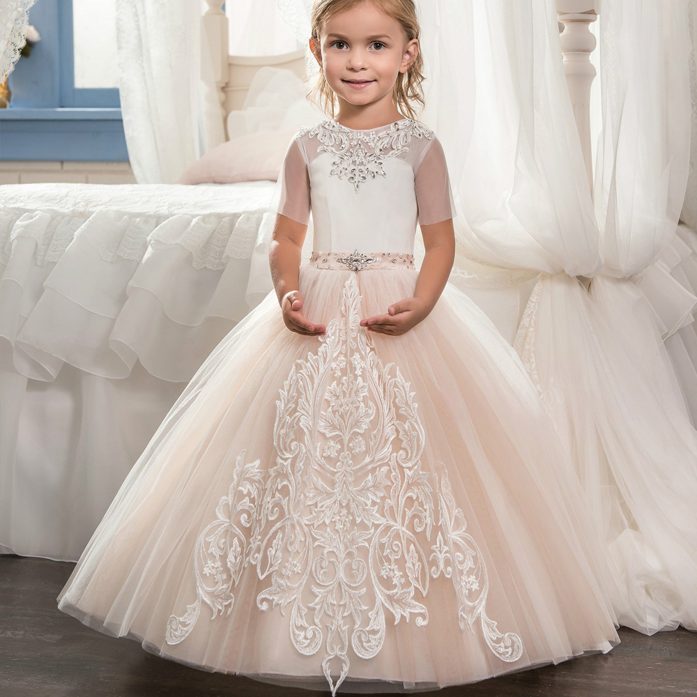 New Beige Flower Girls Dresses Lace Applique with Bow Sash First Communion Dress Ball Gowns Short Sleeve Custom Made gorgeous new white lace flower girls dresses applique with sash bow girls first communion dress ball gown custom made