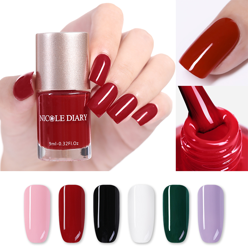 NICOLE DIARY  Nail Color Nail Polish 9ml Pink White Black Nail Art Polish Quick Dry Long Lasting Nail Art 6 Colors