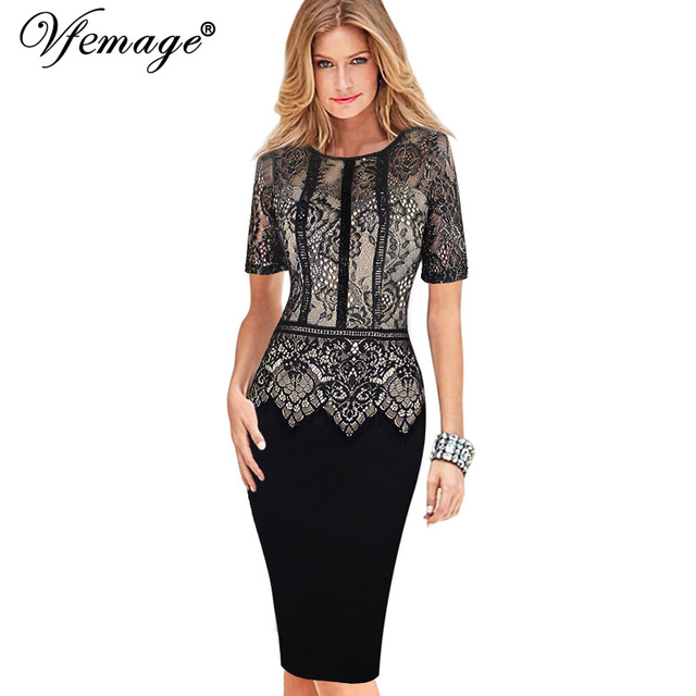 93af19ad3 Vfemage Womens Elegant Vintage Lace Peplum See Through Sleeve Casual Party  Special Occasion Sheath Fitted Bodycon