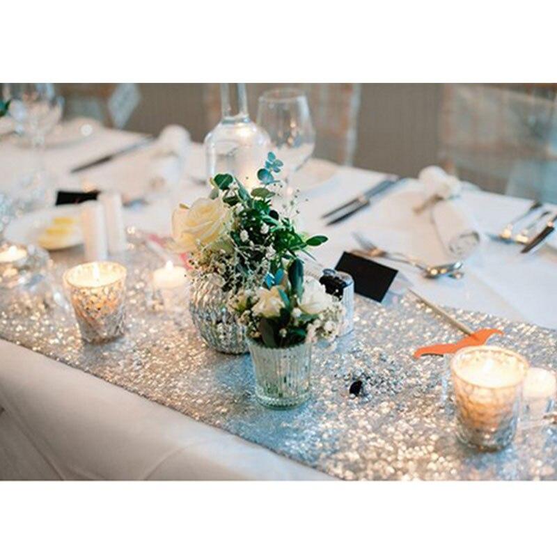 Романтическая 30x180 см блестящее розовое золото, с пайетками настольная дорожка для свадебной вечеринки Рождественская скатерть для стола украшения - Цвет: Silver