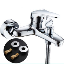 Bath Faucets Shower Mixer Triple Faucet Tap Bathroom Accessories Wall Mounted Bathtub Hot Cold Water Faucet Copper(China)