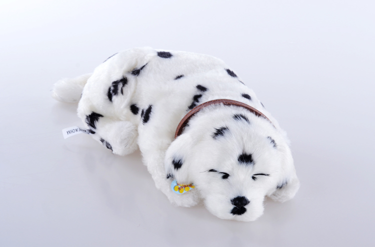simulation spotted Dalmatian prone dog 28cm Electric breathing dog ,funny toy ,baby toy gift, Xmas gift 0536 happy child girl toys electric toy plush pet dog cute and funny simulation dog