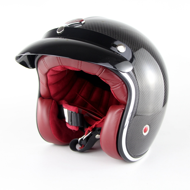 3K Carbon Fiber Genuine Harley Motorcycle Helmet Ruby Pavilion Vintage Motor Bike Casco Retro Helmet OF831