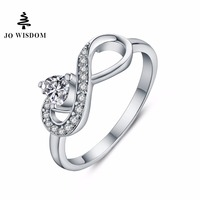 JO WISDOM Fine Jewelry Ring Female 100 925 Sterling Silver Rings Endless Infinity Wedding Decorations