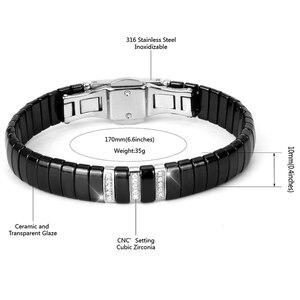 Image 4 - Nieuwe Mode Black Charm Armband Keramische Rvs Crystal Link Armbanden Voor Vrouwen Zilver Kleur Mode sieraden Geschenken
