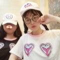 Carácter coreano Harajuku Bordado Cuello de la Camisa de Hilo de Durazno Marea Camiseta de Las Mujeres