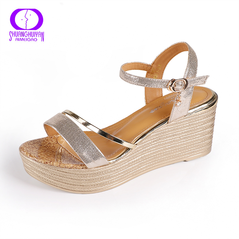 AIMEIGAO Fashion Comfortable Soft Leather Wedges Sandals Platform High Heels Women Sandals Open Toe Crystal Buckle Women Shoes