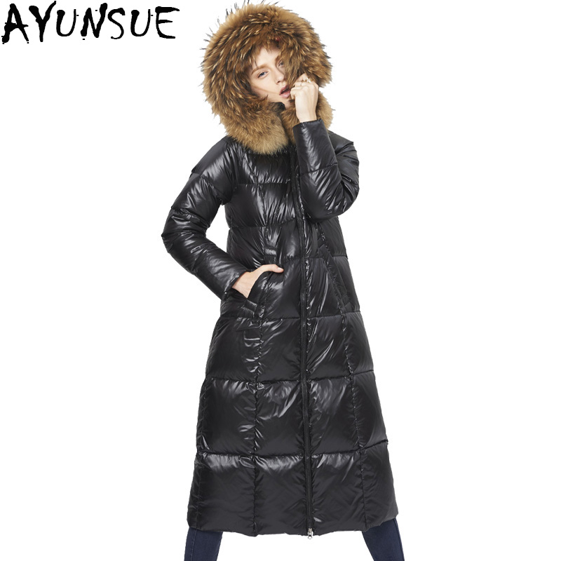 AYUNSUE 2019 Winter 5 Colors New 95% White Duck Down Natural Raccoon Fur Women's Thick Long Hooded Down Jacket Plus Szie LX899