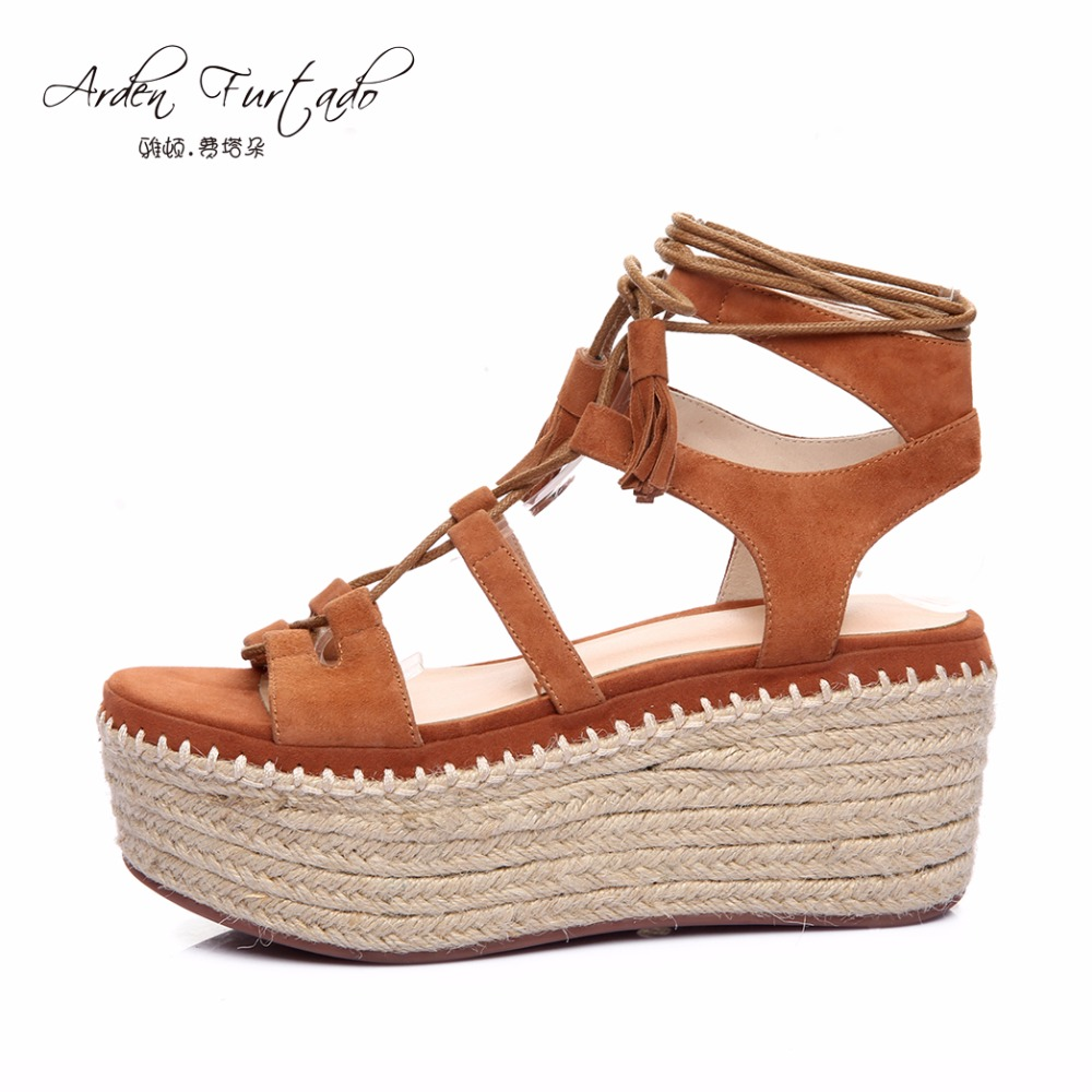 new 2017 summer flats platform cow suede ankle strap casual shoes for woman high heels wedges gladiator tassel sandals lace-up phyanic 2017 gladiator sandals gold silver shoes woman summer platform wedges glitters creepers casual women shoes phy3323