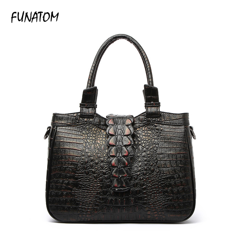 Funatom Women Bag Female Shoulder Bag Handbag Women Famous brands Genuine Leather Bag Ladies Crossbody Messenger Bags Crocodile women bag genuine leather bag brands leather handbag female shoulder crossbody bags cowhide fashion design messenger bags