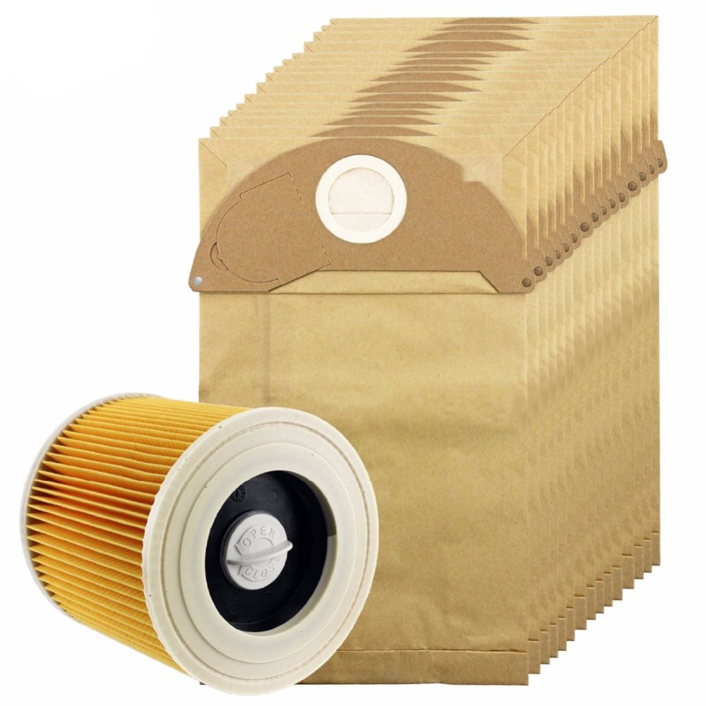 Free Post New 10Pcs dust bag and 1 Filter Kit For Karcher Vacuum Cleaner A2024 A2054 A2064 цена