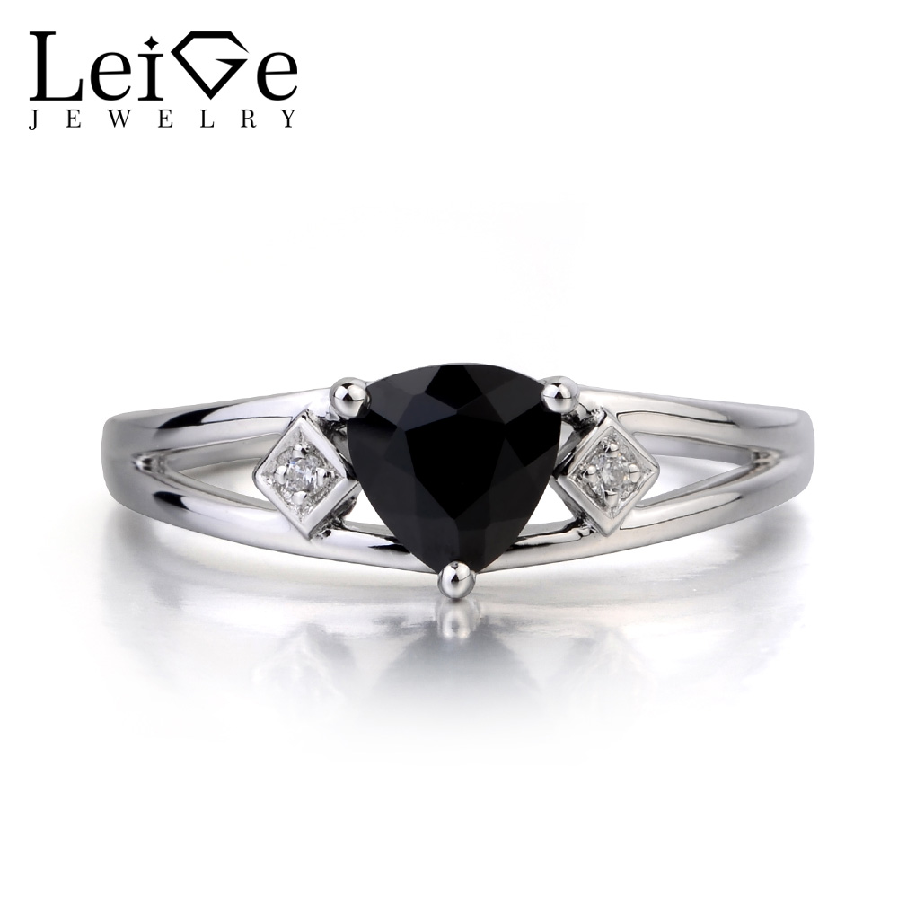 Leige Jewelry Engagement Ring Natural Black Spinel Ring Black Gems Trillion Cut Gemstone 925 Sterling Silver Ring Gifts for Her