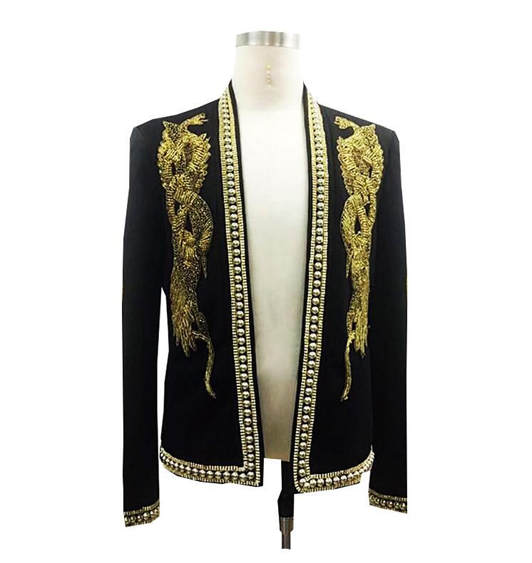 fd7ad3426 Blazer hecho a mano para hombre, trajes, chaqueta, cuello plano, traje de  boda, vestido real, dorado, con cuentas, trajes para fiesta, novio