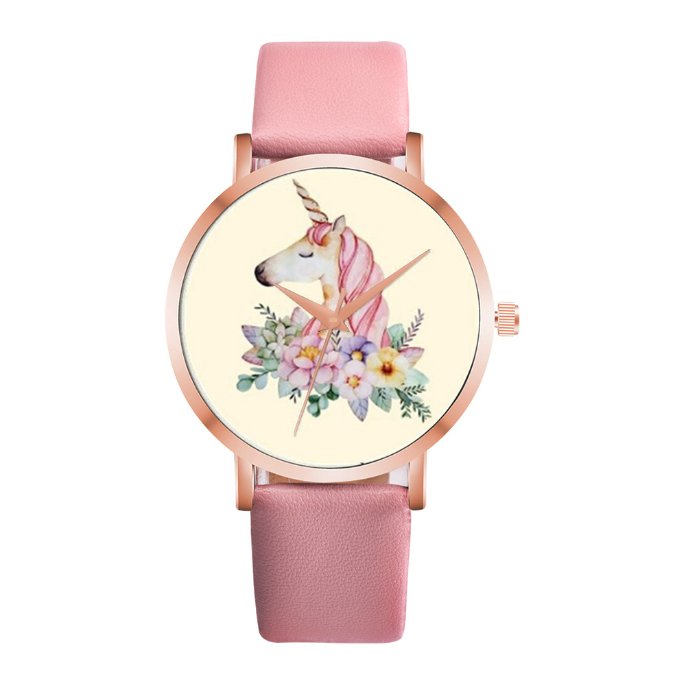 New Unicorn Gold Case Design Fashion Cartoon Children Watch Fashion Girl Kids Student Cute Leather Quartz WristWatches Relojes