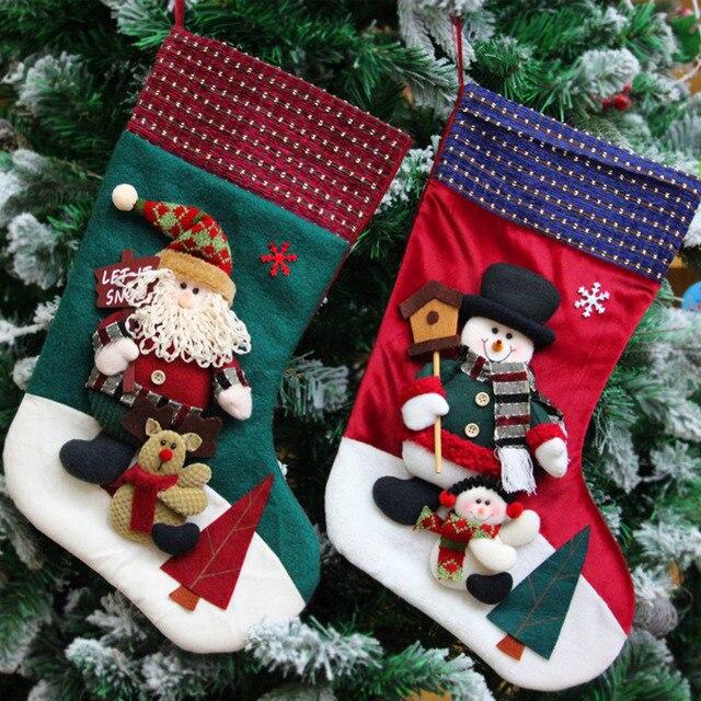001fbae34fc Cute 3D Santa Claus Snowman Xmas Stocking Gift Sock Christmas Holiday Decor