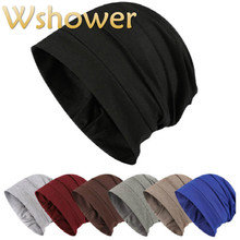 a8abb12af48 Cotton Turban Hat For Women Men Spring Autumn Stocking Hat Solid Slouchy  Cotton Beanie Male Hip