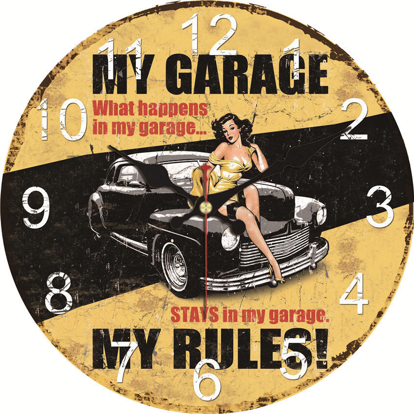 WONZOM Vintage Wall Clock Garage Design Relogio De Parede Large Silent For Living Room Saat Decor Old Time Car Watch Wall Gift