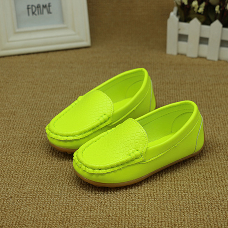 New Boys Girls Spring Soft Leather Casual Shoes For Kids Children Toddler And Teenagers Girls Boys Fluorescent Neon Green Shoes