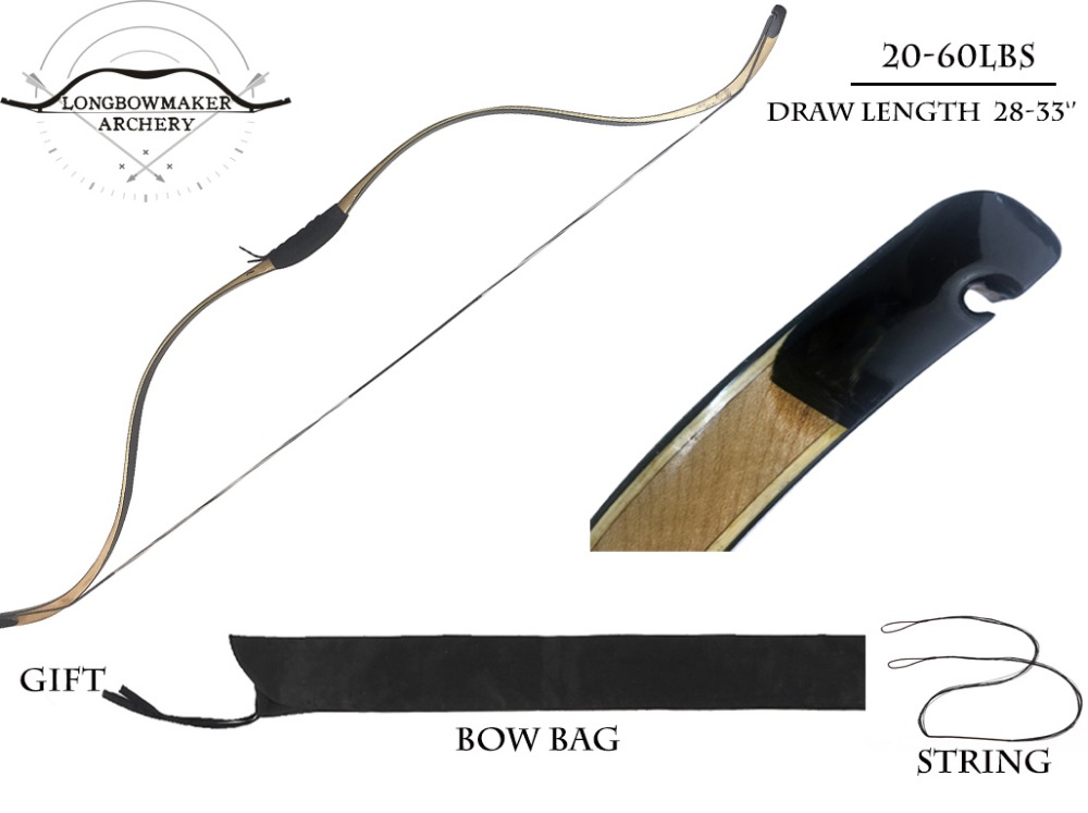 Longbowmaker Traditional LiTang Short Syhas Recurve Bow 20-60Lbs Maple Laminated Archery Chinese Longbow TSS longbowmaker black shadow korean style korean bow 15 60lbs maple laminated longbow horsebow
