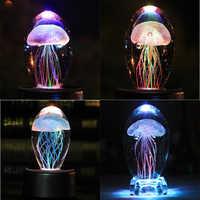 Bunte Kristall Quallen Glas Kristall Figuren Geburtstag Geschenk Quallen Lampe LED Nacht Feng Shui Home Decor Ornament