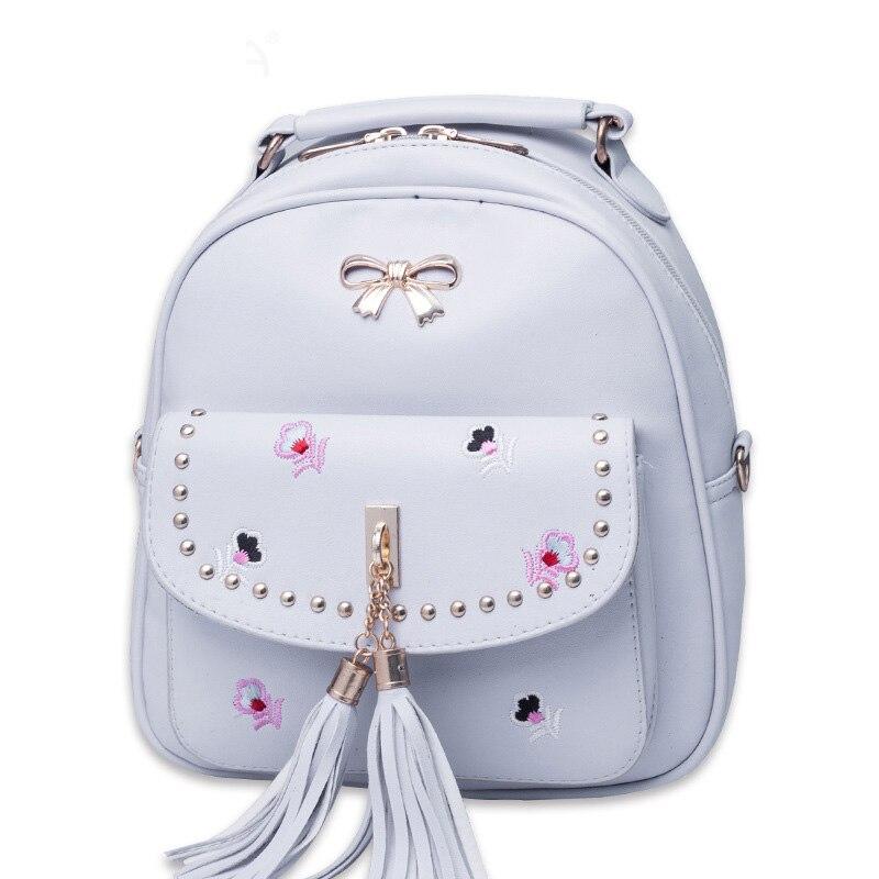 В консервативном стиле для девочек-подростков кожаный рюкзак дамы кисточкой pack символов женский Вышивка Цветочные Рюкзаки Mochilas Mujer школьна...